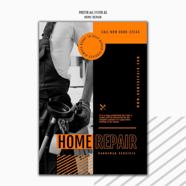 Vertical flyer for house repair company Free Psd