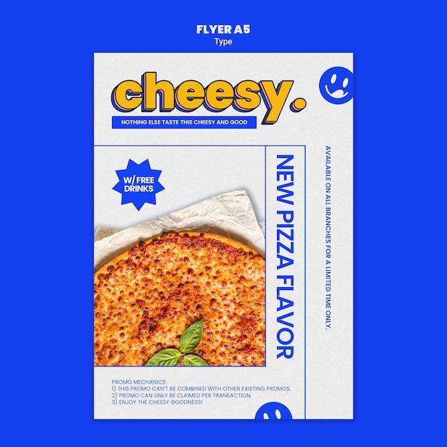 Volantino verticale per un nuovo sapore di pizza al formaggio Psd Gratuite