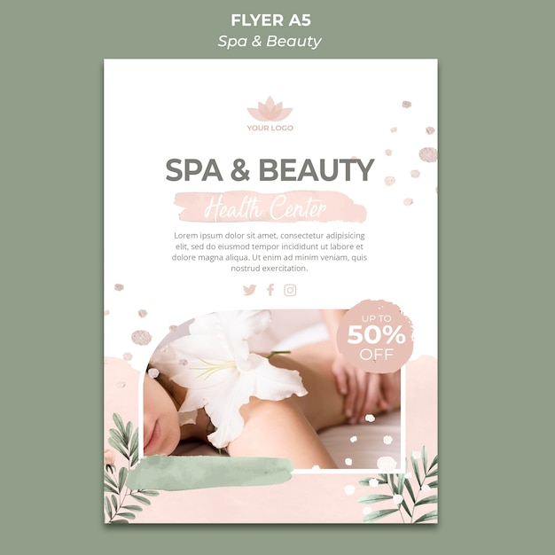 Vertical flyer for spa and relaxation Free Psd