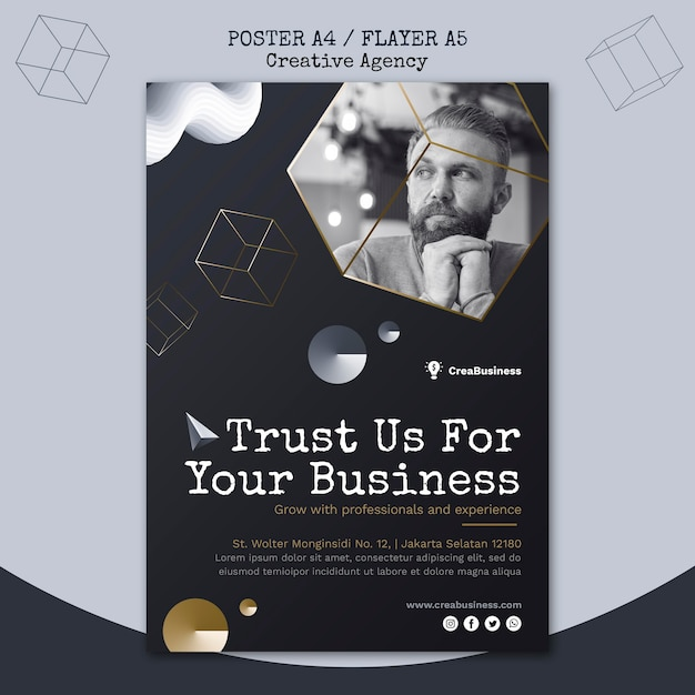 Vertical flyer template for business partnering company Free Psd