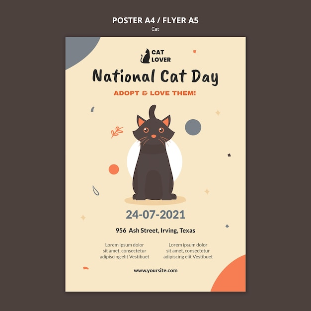 Vertical flyer template for cat adoption Free Psd