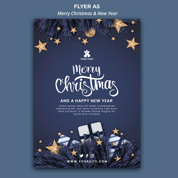 Vertical flyer template for christmas and new year Free Psd