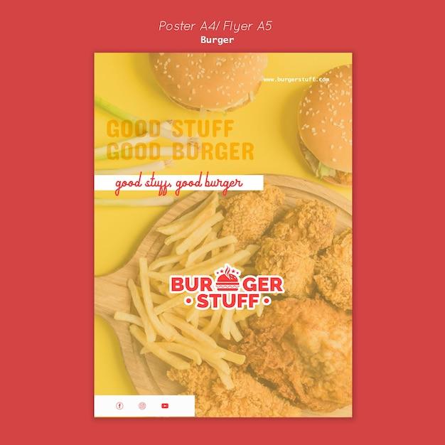 ハンバーガーレストランの縦型チラシテンプレート 無料 Psd