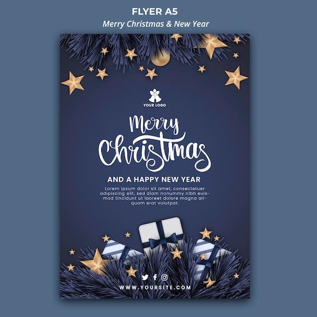 クリスマスと新年の縦型チラシテンプレート 無料 Psd