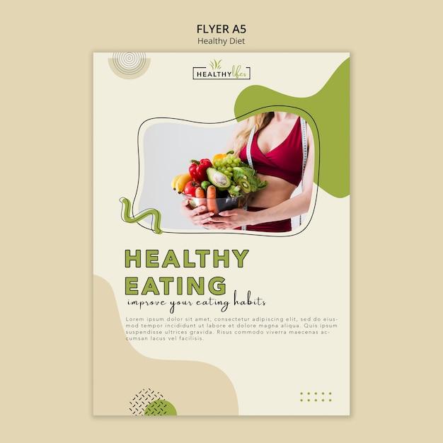 야채와 함께 건강한 다이어트를위한 수직 전단지 템플릿 무료 PSD 파일