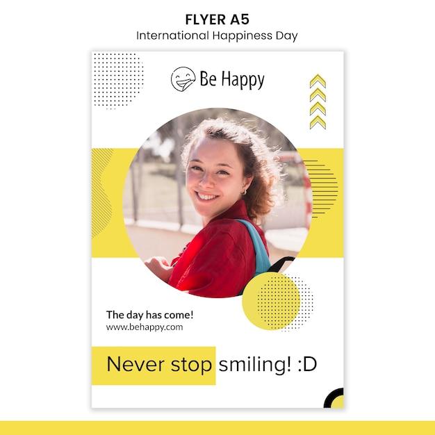 국제 행복의 날을위한 수직 전단지 템플릿 무료 PSD 파일