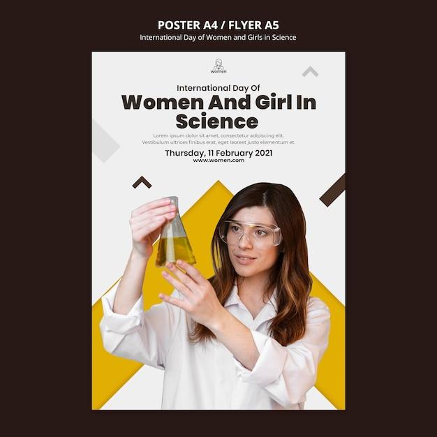 Вертикальный шаблон флаера для международного дня женщин и девочек в день науки Бесплатные Psd