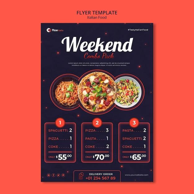 이탈리아 요리 레스토랑의 수직 전단지 템플릿 무료 PSD 파일