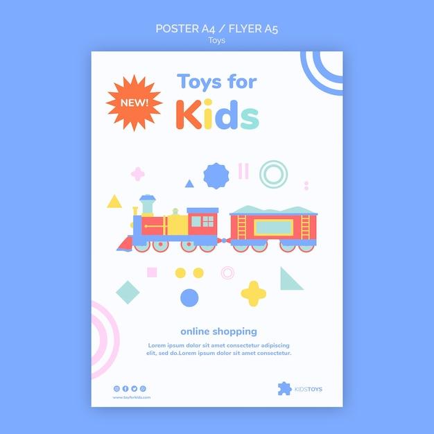 Вертикальный шаблон флаера для детских игрушек в интернет-магазине Бесплатные Psd