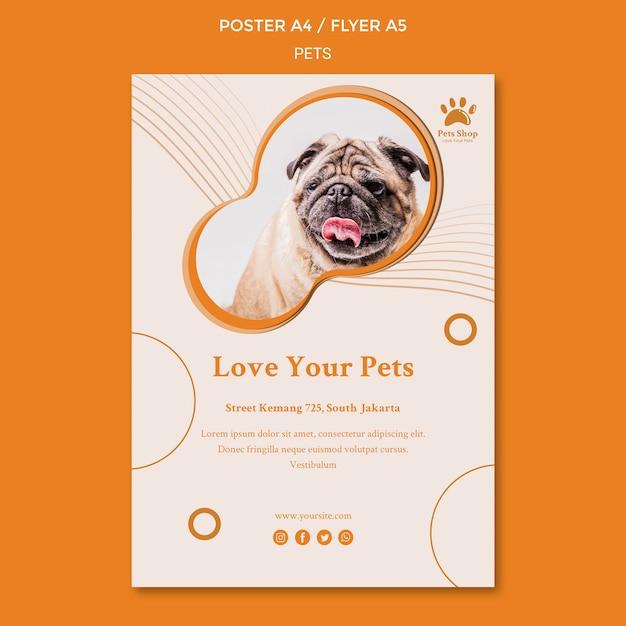 강아지와 애완 동물 가게를위한 수직 전단지 템플릿 무료 PSD 파일