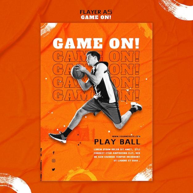농구를위한 수직 전단지 템플릿 무료 PSD 파일