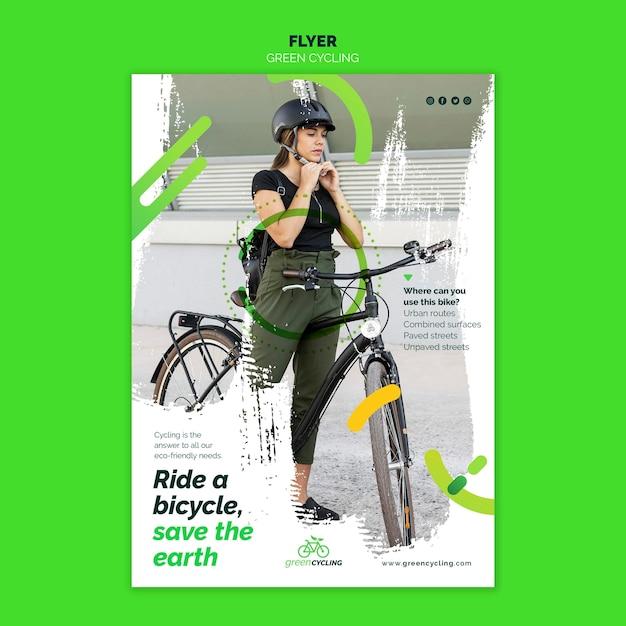 Vertical flyer template for green biking Free Psd