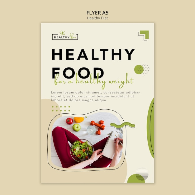 Vertical flyer template for healthy nutrition Free Psd