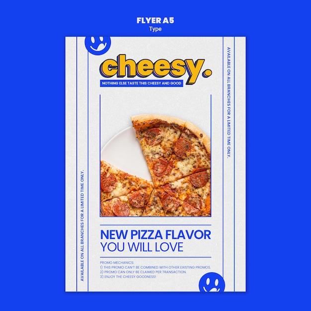Modello di volantino verticale per il nuovo sapore di pizza di formaggio Psd Gratuite