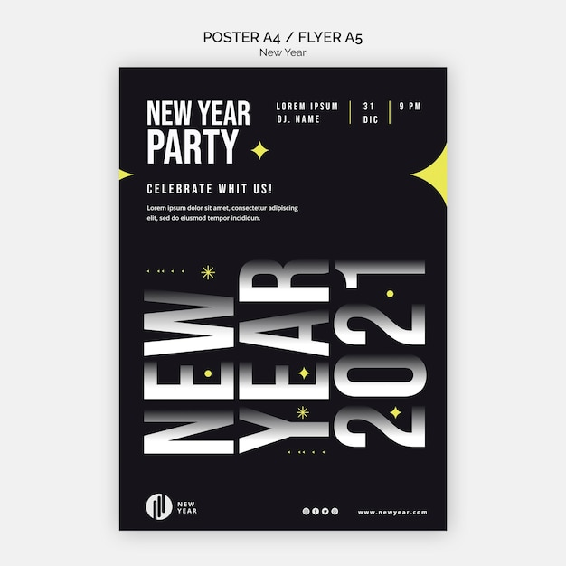 Vertical flyer template for new year party Free Psd