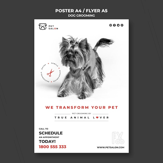 Vertical flyer template for pet grooming company Free Psd