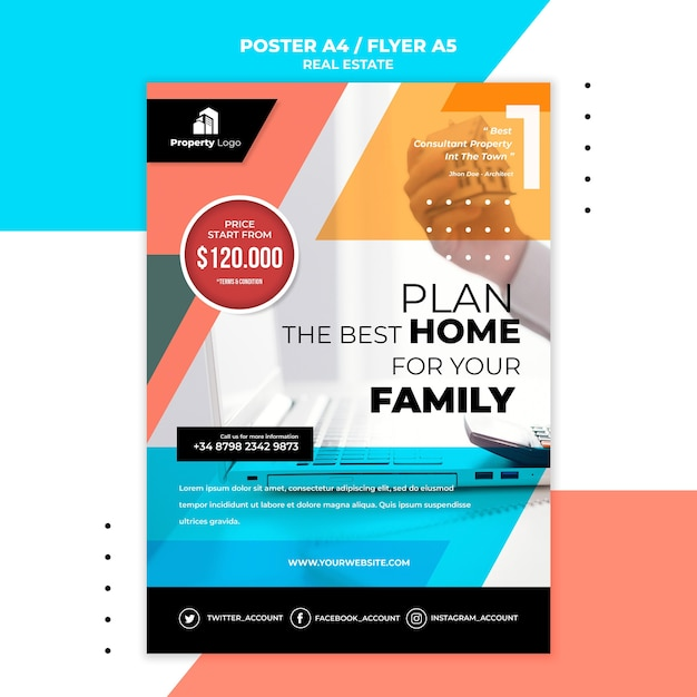 Vertical flyer template for real estate company Free Psd