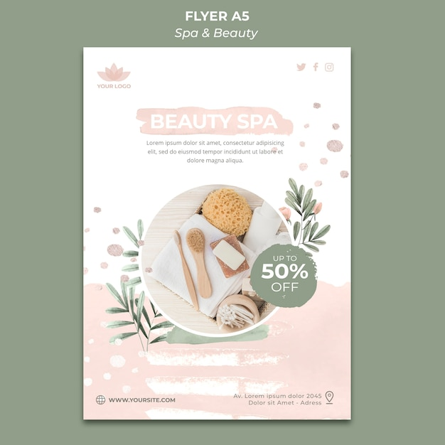 Vertical flyer template for spa and relaxation Free Psd