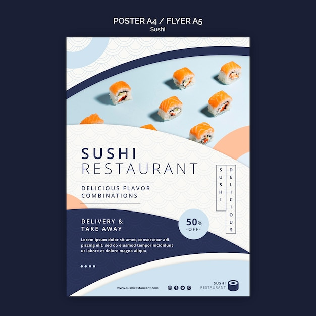 Vertical flyer template for sushi restaurant Free Psd