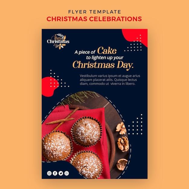 Volantino verticale per dolci natalizi tradizionali Psd Gratuite