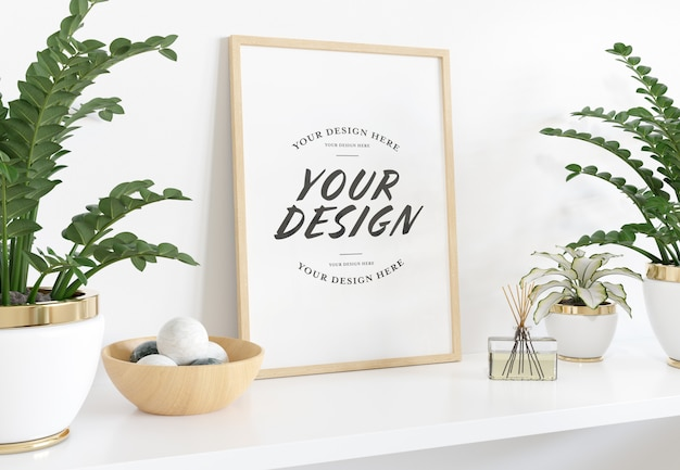 Vertical frame laying on shelf mockup Premium Psd