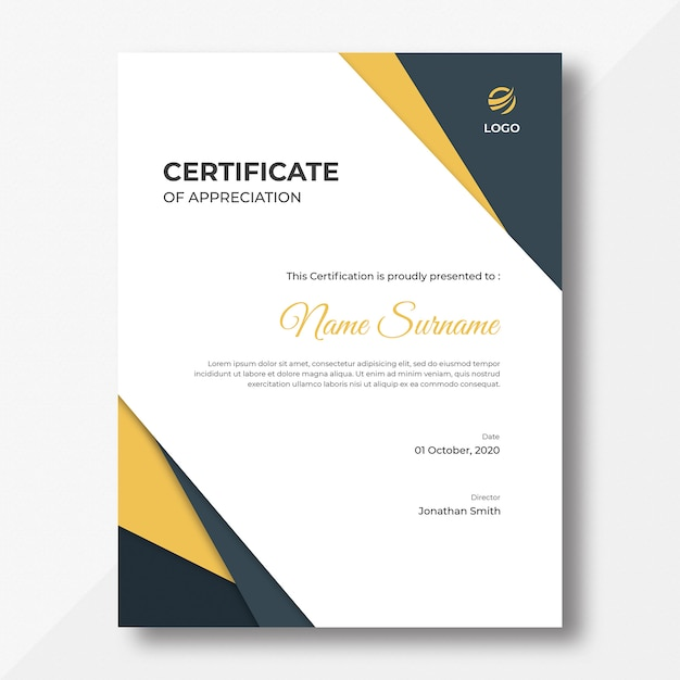 Vertical gold and black shapes certificate design template Premium Psd