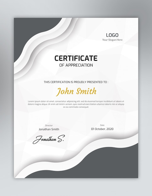 Vertical grey one color certificate template with polygon pattern Premium Psd