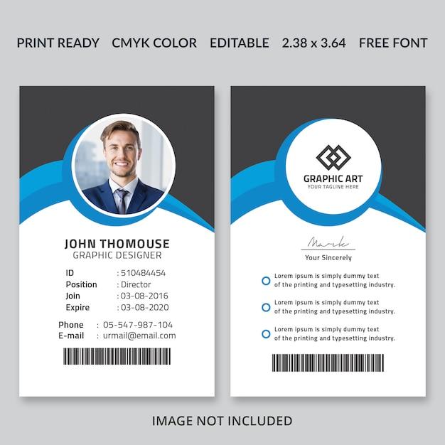 Vertical id card template Premium Psd