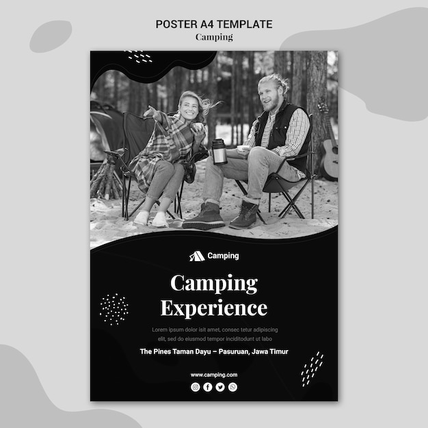 Vertical monochrome poster template for camping with couple Free Psd