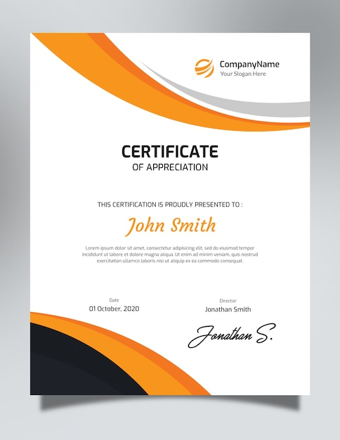 Vertical Orange Black Certificate Template Psd File Premium Download