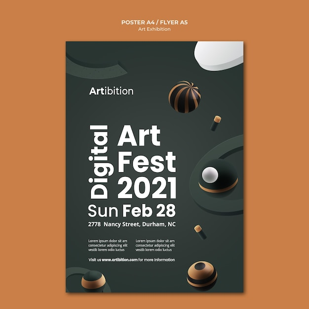 Vertical poster for art exhibition with geometric shapes Free Psd