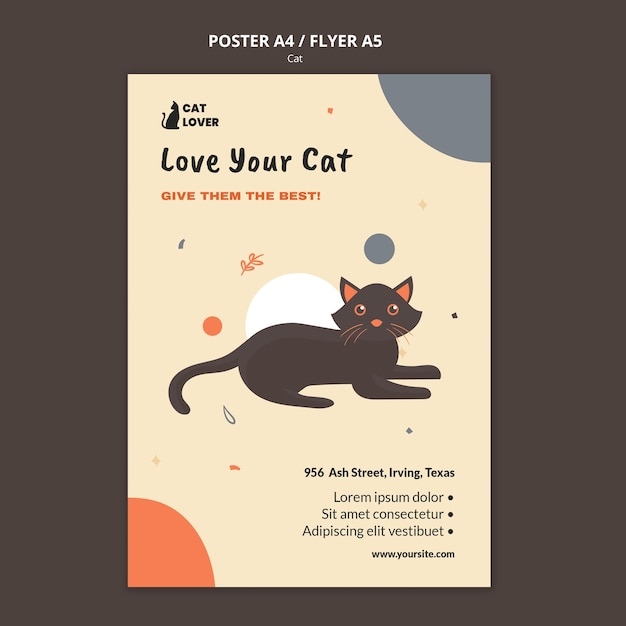 Vertical poster for cat adoption Free Psd
