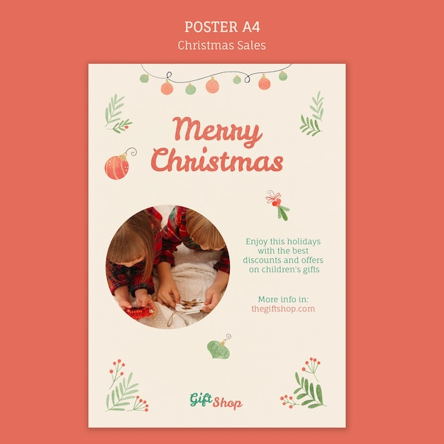 Vertical poster for christmas sale with children Free Psd