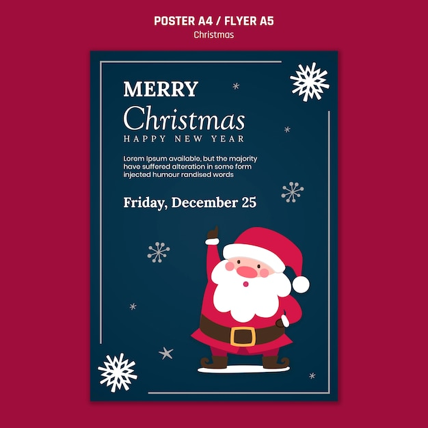 Vertical poster for christmas with santa claus Free Psd