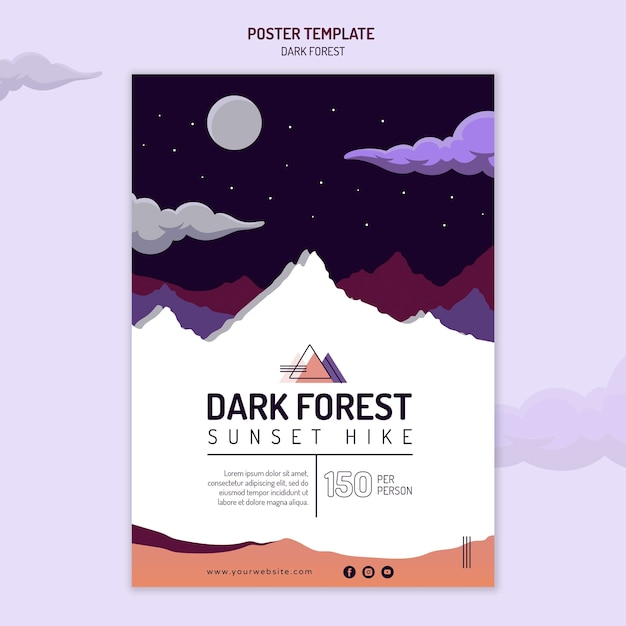 Vertical poster for dark forest hiking Free Psd