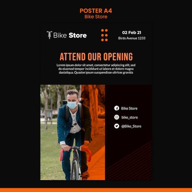 自転車店の縦型ポスター 無料 Psd