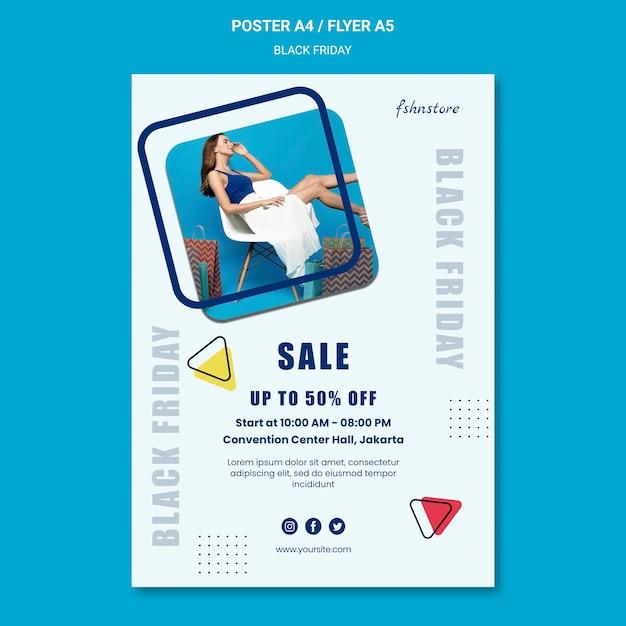 여자와 삼각형이있는 검은 금요일에 대한 세로 포스터 무료 PSD 파일