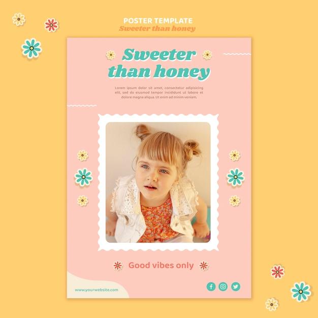 Вертикальный плакат для детей с цветами Бесплатные Psd