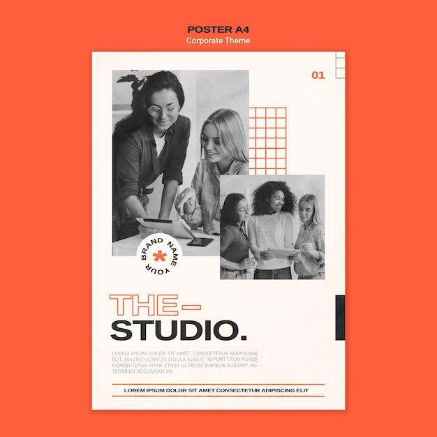 기업 스튜디오 용 세로 포스터 무료 PSD 파일