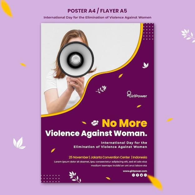 Вертикальный плакат по искоренению насилия в отношении женщин Бесплатные Psd