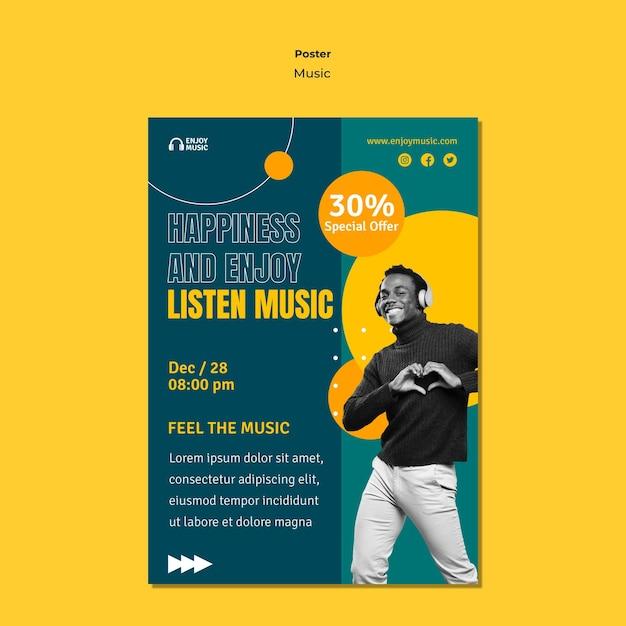 Вертикальный плакат для прослушивания музыки Бесплатные Psd