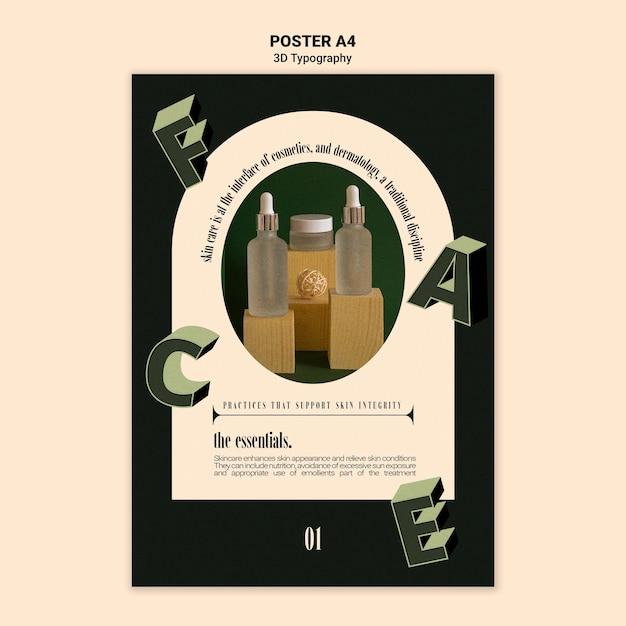Вертикальный плакат для демонстрации бутылок эфирного масла с трехмерными буквами Бесплатные Psd