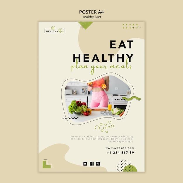 健康的な栄養のための縦のポスター 無料 Psd