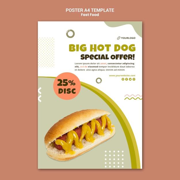 Вертикальный плакат для ресторана хот-догов Бесплатные Psd