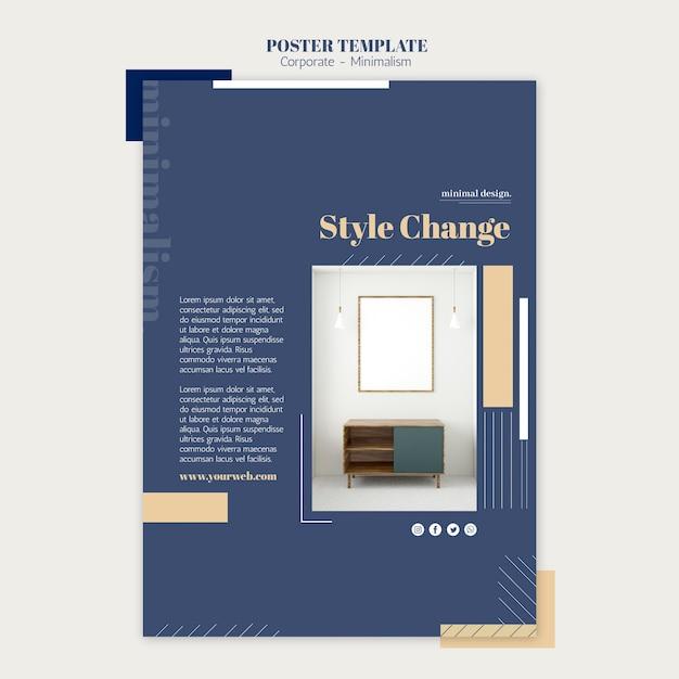 인테리어 디자인을위한 수직 포스터 무료 PSD 파일