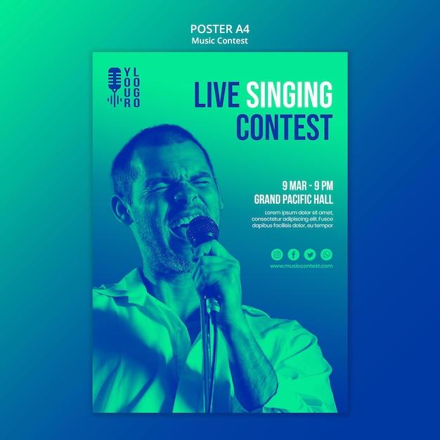 공연자와 라이브 음악 콘테스트를위한 세로 포스터 무료 PSD 파일