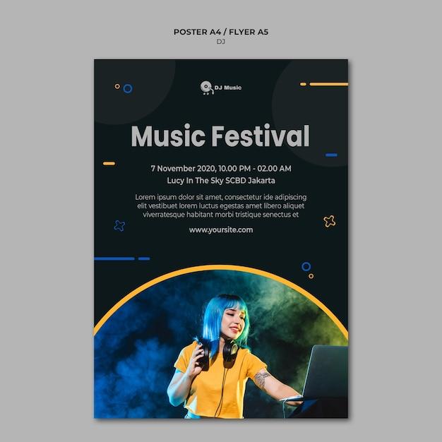 음악 축제를위한 수직 포스터 무료 PSD 파일