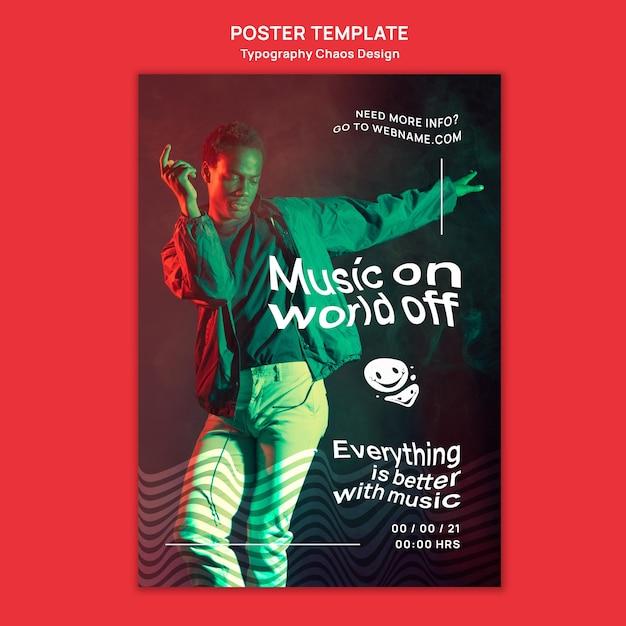 男と霧の音楽のための垂直ポスター 無料 Psd