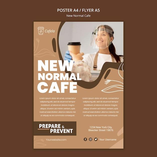Вертикальный плакат для нового нормального кафе Бесплатные Psd
