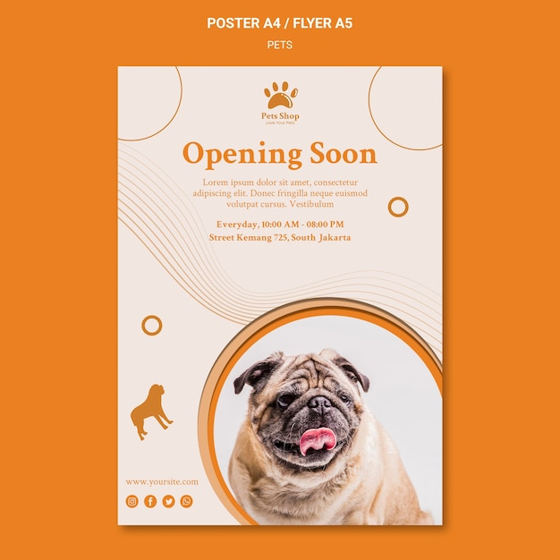 강아지와 함께 애완 동물 가게를위한 세로 포스터 무료 PSD 파일